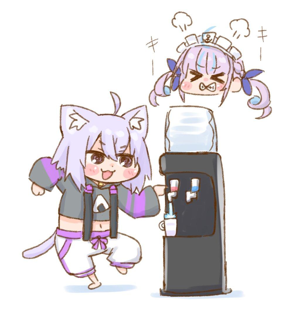 ウォーターサーバーを堪能する猫又おかゆと僻む湊あくあ#絵かゆ