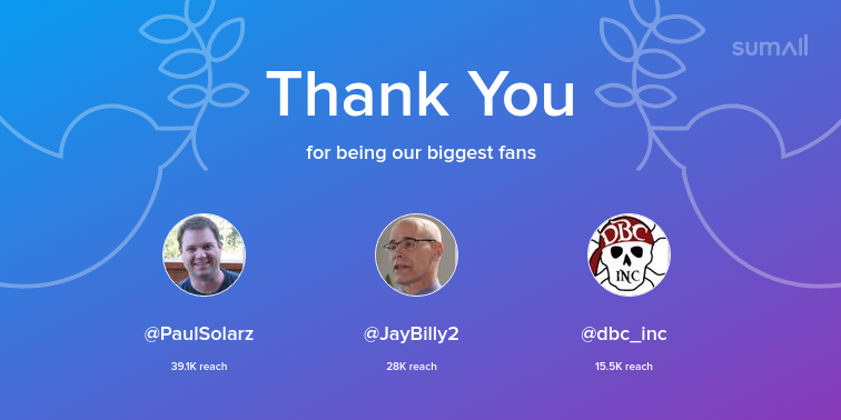 Our biggest fans this week: PaulSolarz, JayBilly2, dbc_inc. Thank you! via sumall.com/thankyou?utm_s…