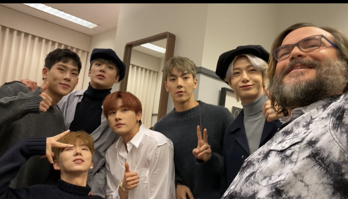 . @jackblack and @OfficialMonstaX meet backstage! Tune in today to see them on our show today! #MonstaX