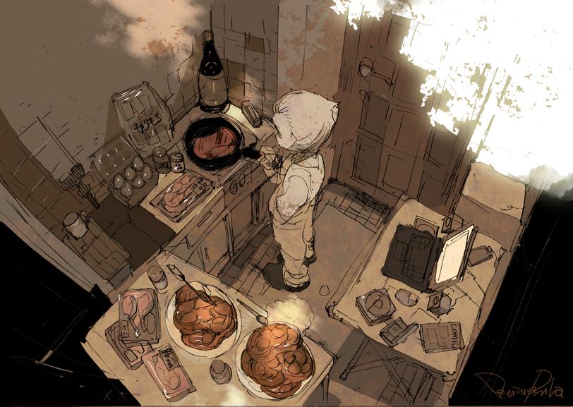 狭い台所にミニテーブルを出して焼き方を調べながら肉を焼く