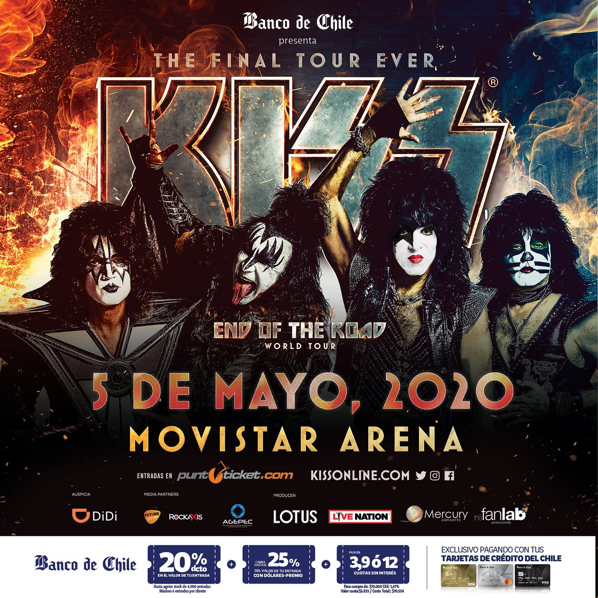 Que sea un Excelente y Feliz día KiSSeros!! #Kiss #thefinaltourever #endoftheroad #kissonline #kissband #kissmusic #kissarmy #kissnation #kissfan #kissforever #rock #rocknroll  #liveconcerts #concierto #conciertoschile #kissenchile #kissenchile2020 #youwantthebest #KissArmyCLpic.twitter.com/qCMwr6gRzl