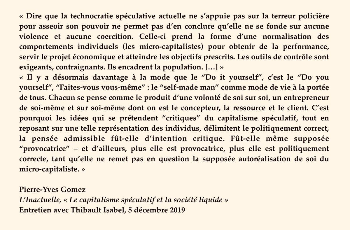 NÉOLIBÉRALISME ET NORMALISATION DES COMPORTEMENTS INDIVIDUELS Le «self-made man» est désormais prôné comme mode de vie à la portée de tous, explique @PYvesGomez Un entretien passionnant avec @ThibaultIsabel via @linactuelle ➡️ linactuelle.fr/index.php/2019…