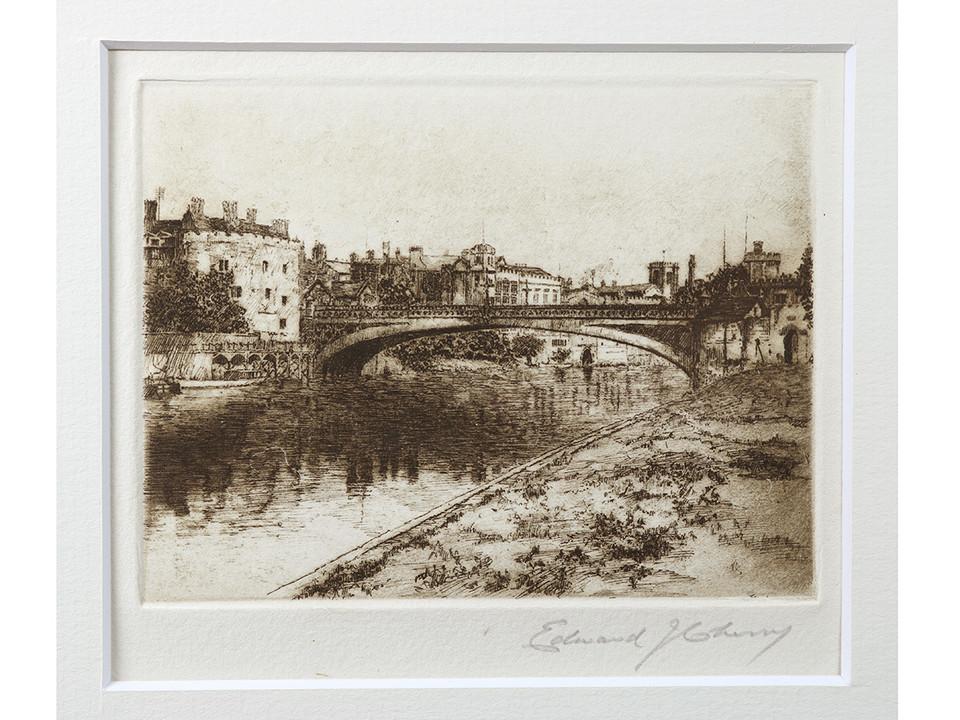 #artforsale   'Lendal Bridge' by Edward J Cherry FRSA (1886-1960). Original signed & framed etching.    #etching #york #yorkshire #northyorkshire #saddlebackfineart #buyart #affordableart #art #artlover #artforsaleonline