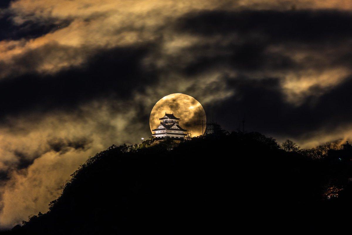 令和元年最後の満月。コールドムーンと言うらしいですね。今宵岐阜城では身も心も震える景色に出会えました。#東京カメラ部 #満月 #コールドムーン