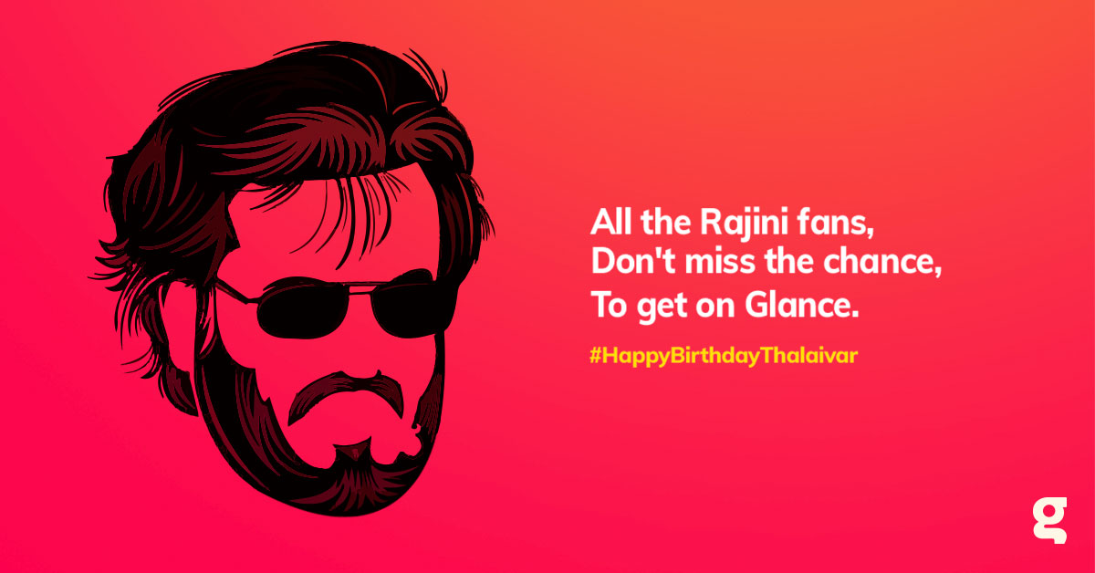 Get news about your favourite celebrities on your lockscreen with a Glance-enabled phone. Have you enabled Glance yet? #HappyBirthdaySuperstar #Rajnikanth #HappyBirthdayThalaiva