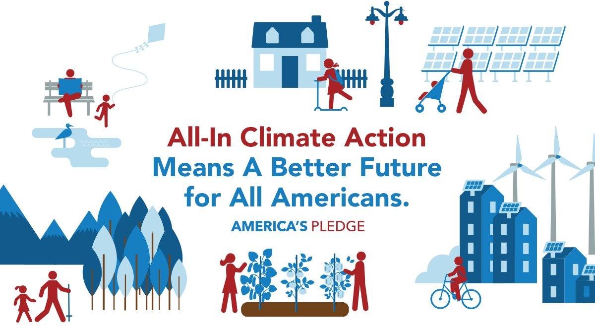 """The latest report from #AmericasPledge offers a new plan for U.S. climate leadership and outlines the incredible benefits of climate action. By following an """"All-In"""" plan to reduce emissions, we can create a better and healthier future for all Americans. bit.ly/34Vaw1K"""