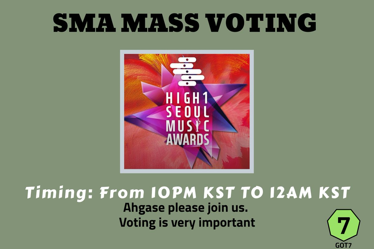 Hi ahgase,   Don't forget to join in SMA mass voting which is going to start from 10PM KST to 12AM KST  #GOT7   #갓세븐   @GOT7Official   Find tutorial below<br>http://pic.twitter.com/h034QbV9Bv