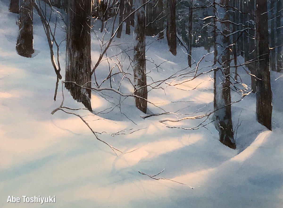 冬の林 #透明水彩
