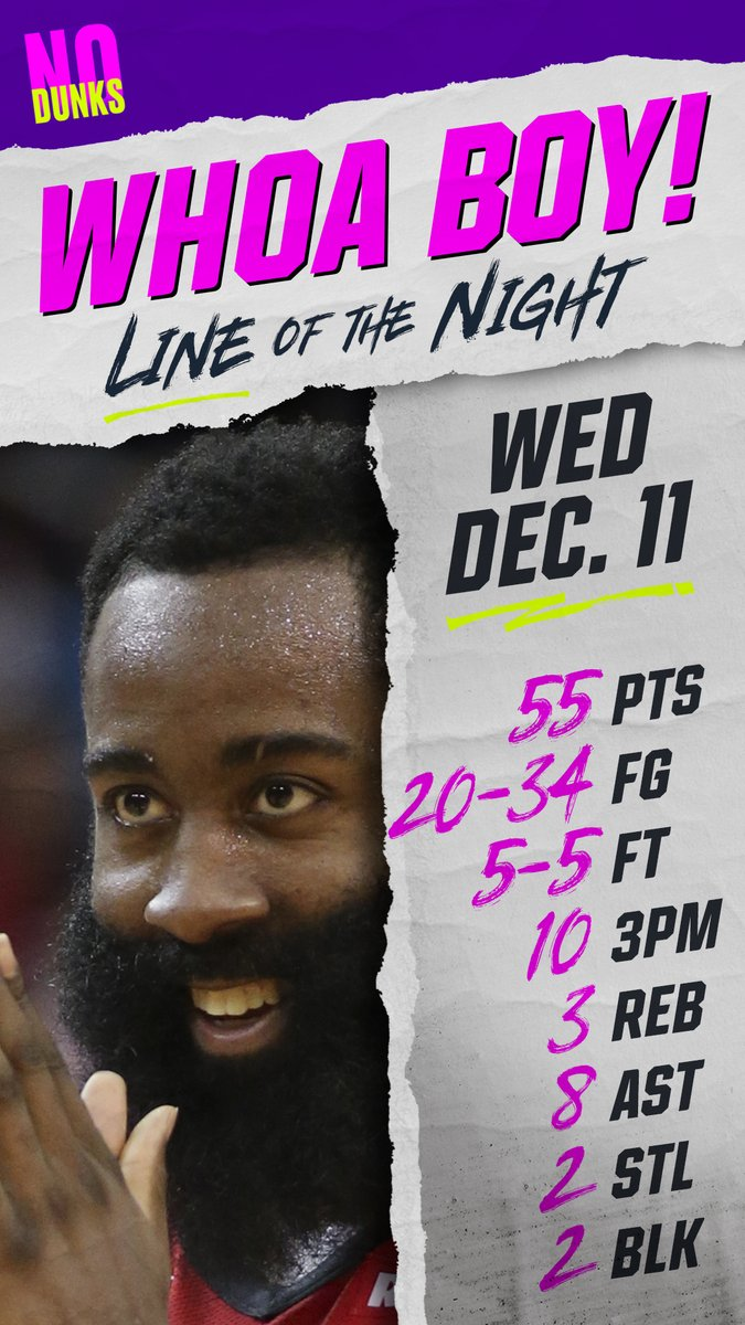 The @HoustonRockets @JHarden13 wins Wednesdays #WhoaBoy with a line that even the haters gotta appreciate. #NoDunks