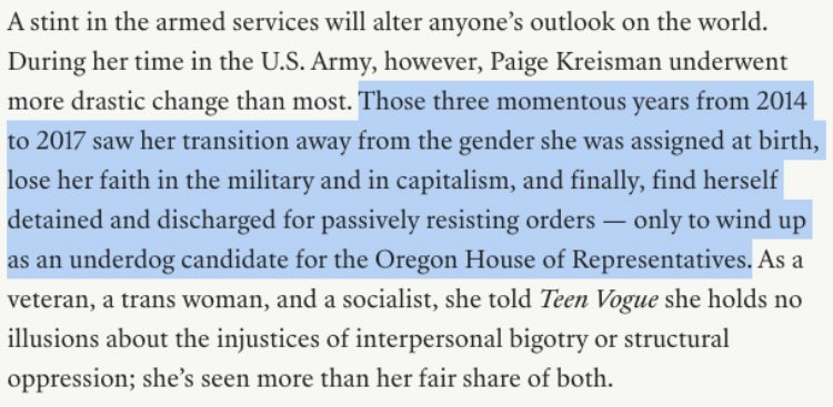 .@walletchecks profile of @PaigeKreisman is up on @TeenVogue today. Loved this wonderful lede about a really fascinating candidate: bit.ly/2PD6LaT