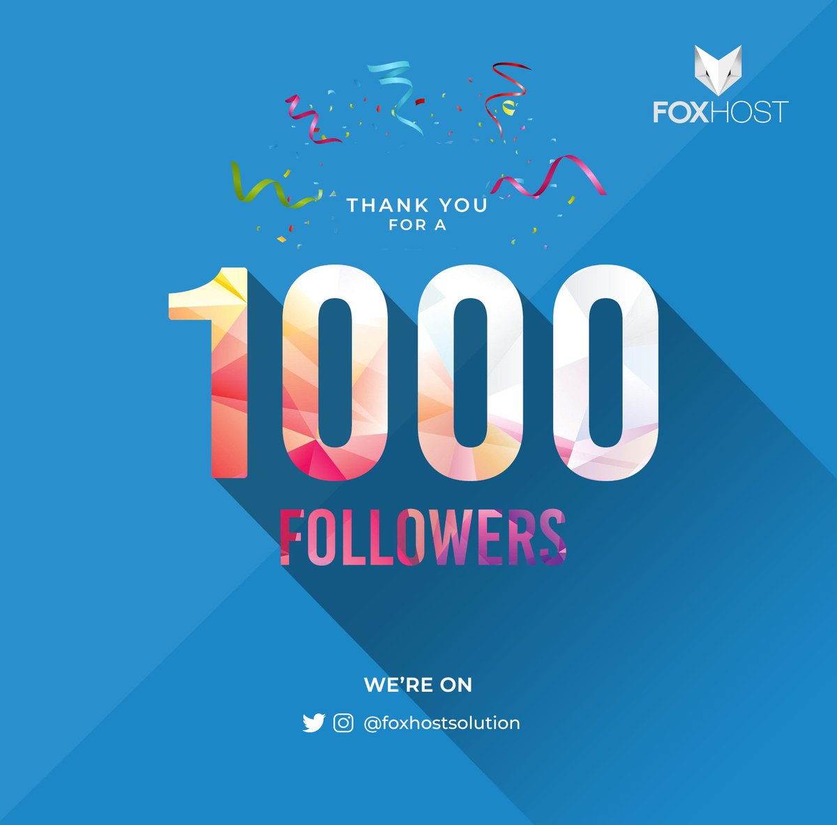 Our Instagram @foxhostsolution has reached a 1000 Followers, thank you all for supporting and being with us on this Journey, we owe it to you!Continue having us for all Web Hosting, Web & App Development needs.#FoxHost #WebSolutions #1000Followers