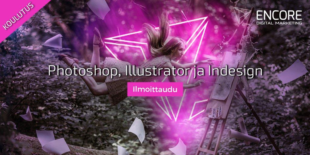 Adoben alkeet –koulutuksessa tutustutaan kuvankäsittelyn peruskäsitteisiin ja työkaluihin. Osallistumiseen ei vaadita aikaisempaa kuvankäsittelykokemusta. Ilmoittaudu: https://www.encore.fi/koulutukset/adoben-alkeet-photoshop-illustrator-ja-indesign/…#markkinointi #koulutus #Adobe #Photoshop #Illustrator #Indesign