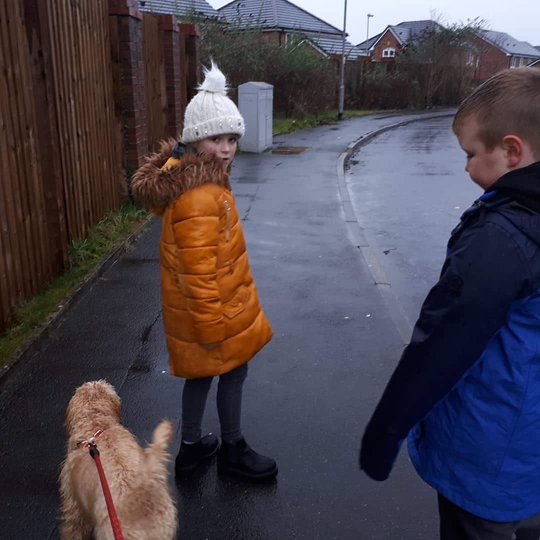 The helpers got a bit wet today!!! #noschooltoday #pollingday #voting #littlehelpers #son #daughter #fourleggedfriend #dogs #woof #wetthrough #rainyday #waterproofs #pawsandclaws