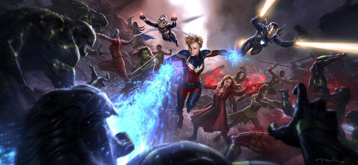 1 of the most fun/challenging keyframes I've ever painted during all my yrs at Marvel. Sad not to be able to paint #BlackWidow 😢#AvengersEndgame #CaptainMarvel #ScarletWitch #Gamora #Nebula #Mantis #Wasp #PepperPotts #Valkyrie #Okoye #Nakia #Shuri #MarvelStudios @Russo_Brothers