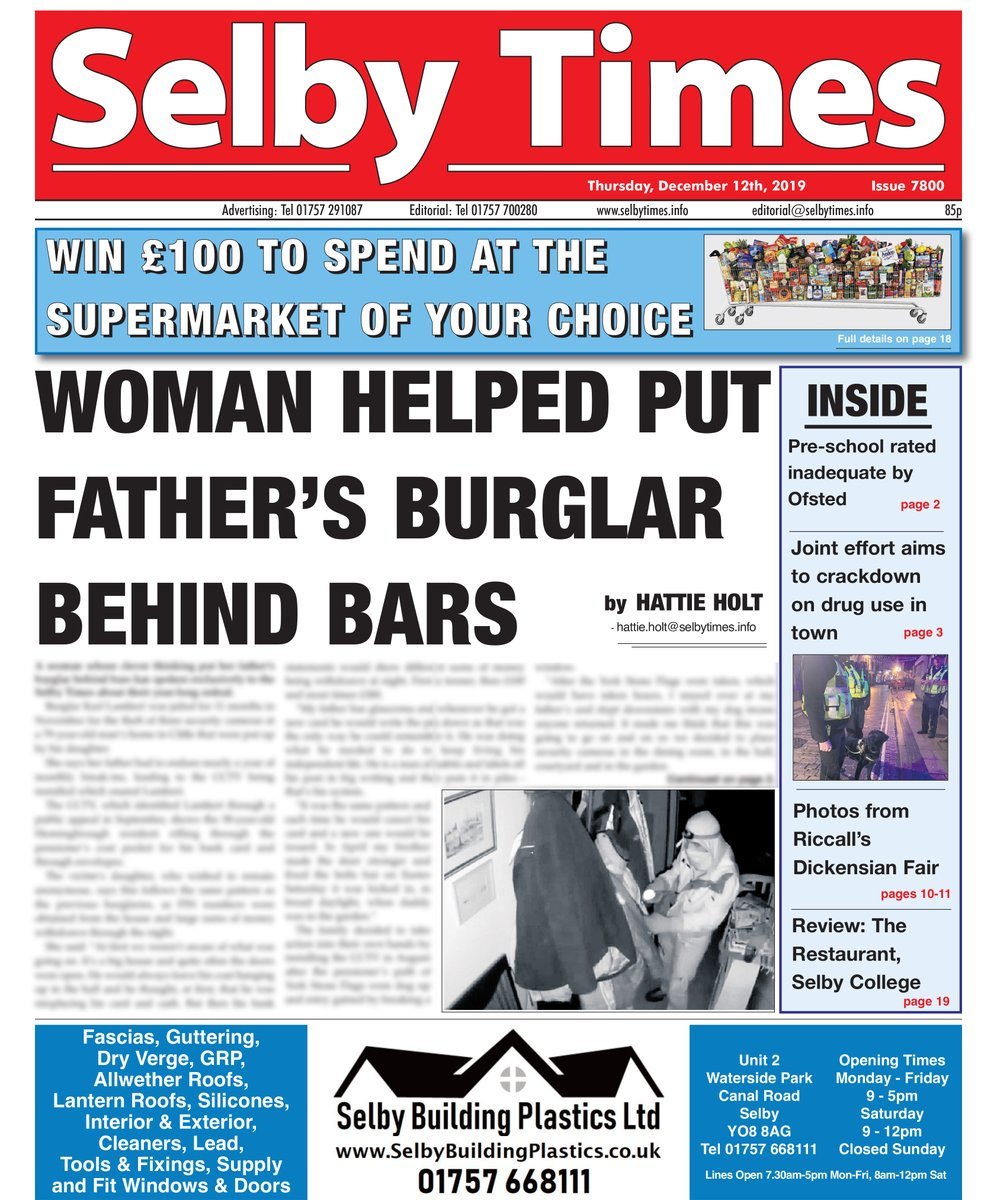 Your favourite weekly read is now on sale 🗞 This week's front page story: Woman helps put her father's burglar behind bars. This story and more on sale today! #selby #northyorkshire #yorkshire #news