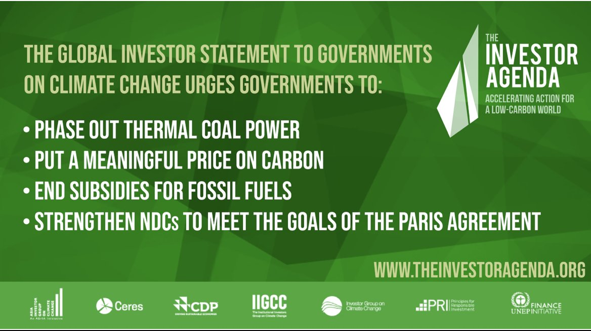 A record 631 investors w/ $37T in AUM ask governments to phase out thermal coal power, put a meaningful price on carbon and end fossil fuel subsidies. bit.ly/2svFUTi #TheInvestorAgenda @AIGCC_update @CDP @CeresNews @IGCC_Update @IIGCCnews @PRI_News @UNEP_FI #COP25