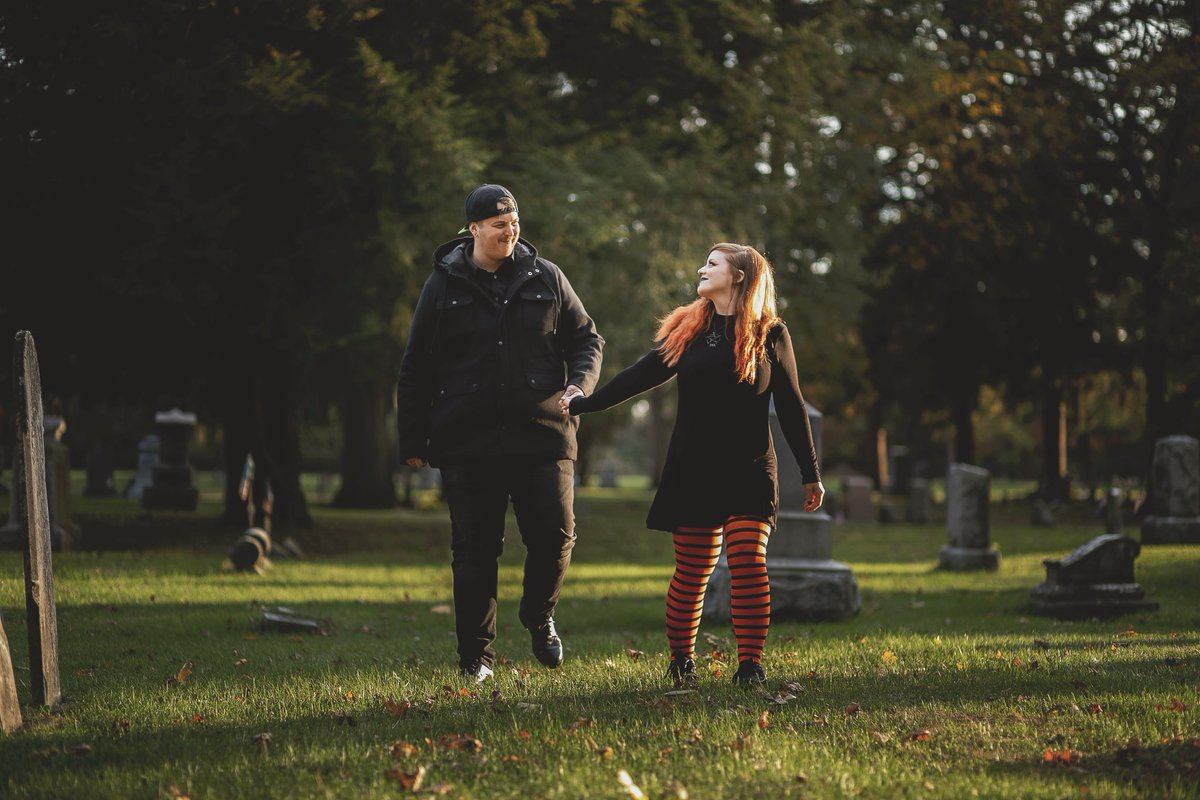 """""""Hold my hand in the cemetery and you'll be safe."""" #neckdeep #kalima #cemetary #engagementshoot pic.twitter.com/UqJ3NnvmNf"""