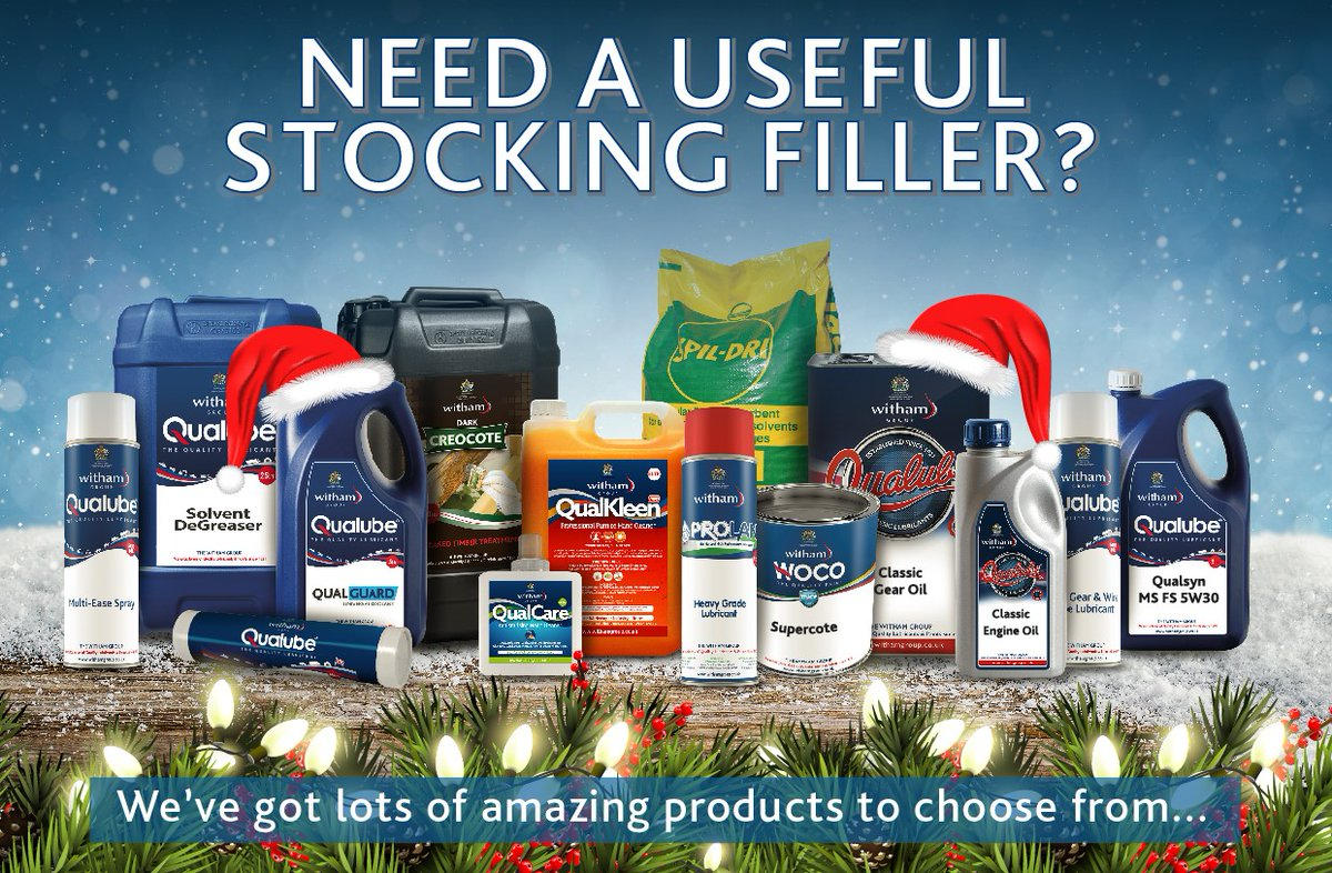 Looking for unusual Christmas gift ideas?!   Visit http://www.withamgroup.co.uk/online-shop/  #stockingfillers #Christmas #workshops #cleaningproducts #handcleaner #antifreeze #trafficfilmremover #lubricantspic.twitter.com/76hNE06BdK