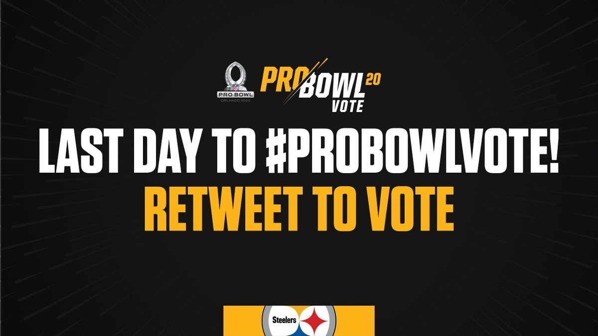 🚨 LAST DAY TO #ProBowlVote 🚨  RT this post to vote!  @MaurkicePouncey #AlejandroVillanueva #DavidDeCastro #MattFeiler @RamonFoster @JamesWashington @TeamJuJu @JamesConner_ @VMcDonald89 #ChrisBoswell @JBerry_4 @44_Matakevich @Juiceup__3