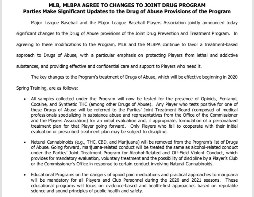 Mlb Communications On Twitter Today Mlb And The Mlb Players Jointly Announced Significant Changes To The Drug Of Abuse Provisions Of The Joint Drug Prevention And Treatment Program Https T Co Dn01ejh90d