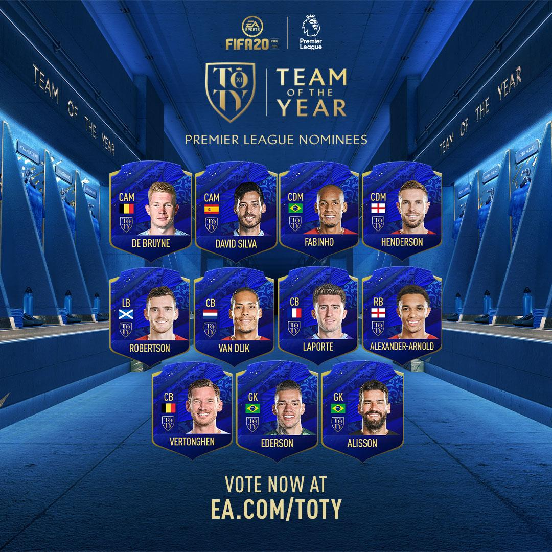 23 #PL players from 5 clubs❗You can have your say on the @EASPORTSFIFA #TOTY XI now! Vote here 👉http://x.ea.com/62006  🗳🎮🔥