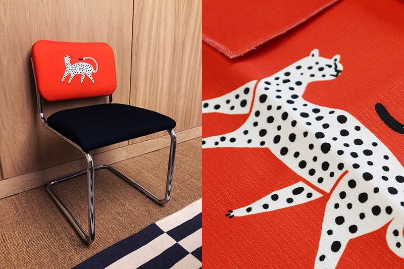 Unique touches and playful designs are central to our interiors. This leopard on bright orange-red fabric can be found at WeWork London. we.co/functionalarttw. #wework