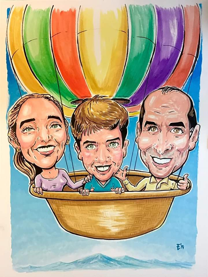 Caricatura familiar en técnica de gouache. Encarga la tuya! El mejor regalo. #caricatura #dibujo #ilustracion #gouache #caricature #drawing #art #artist  #globo #familia