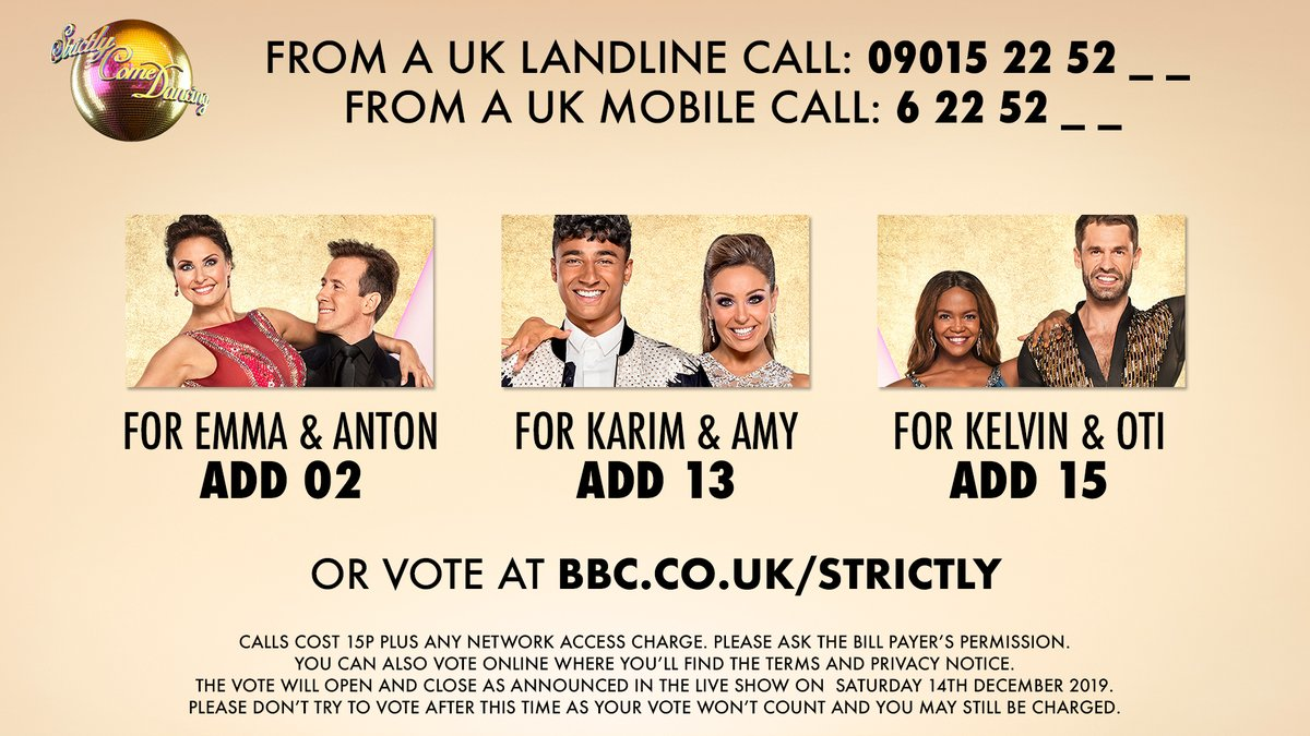 The vote is now OPEN! Your votes are more important than ever, as tonights winners are completely down to you. So get calling or vote online now. 📲 #StrictlyFinal