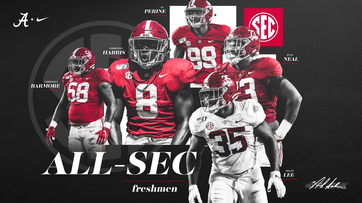 Freshman All-SEC   »  http:// bit.ly/2LPyBiW      #BamaFactor #RollTide<br>http://pic.twitter.com/DO5fOpE9YC