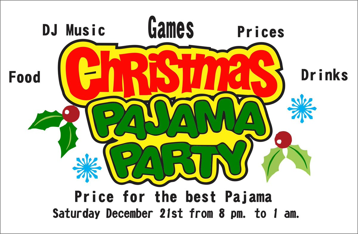 Mark your calendars for our Christmas Pajama Party!! Great food, great drinks, great music and prizes! #Christmas #party #music #prizes #drinks #food #games