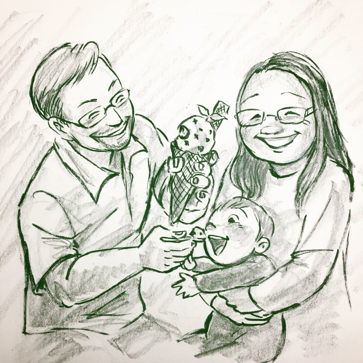 Seems like I forgot to post one from day before yesterday...  Here's a drawing of a family eating ice-cream 😋 Commission from a mom.   #commission #Day39 #family  #portrait #drawing #doodle #everydaydrawingchallenge #Day80 #筆ペン #絵 #筆ペンイラスト #筆ペン画 #fudepen