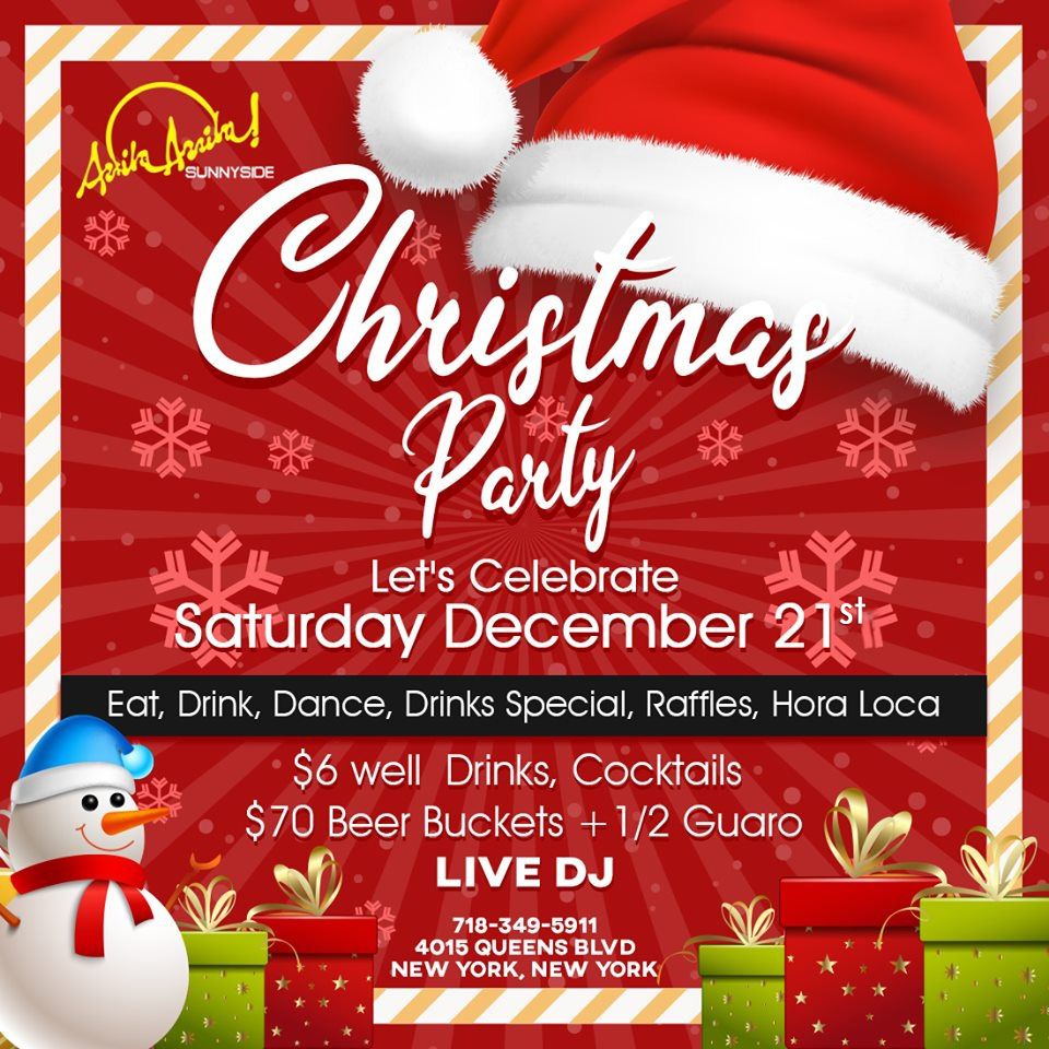 Christmas Party Let´s Calebrate Saturday, December 21st Eat, Drink, Dance, Drinks Special, Raffles, Hora Loca $6 well Drinks, Cocktails $70 Beer Buckets + 1/2 Guaro Live DJ - #Christmas #Party #Celebrate #Sarturday #HoraLoca #Cocktails #Raffles #Dance