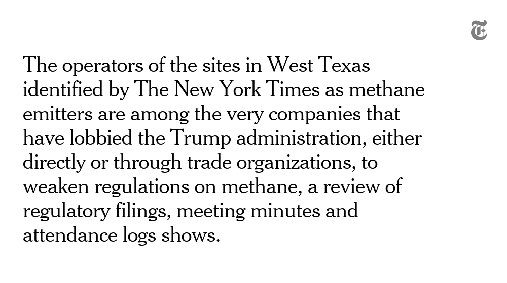 Next year, the Trump administration could move forward with a plan that would effectively eliminate requirements that oil companies install technology to detect and fix methane leaks from oil and gas facilities https://nyti.ms/2YJsOk9