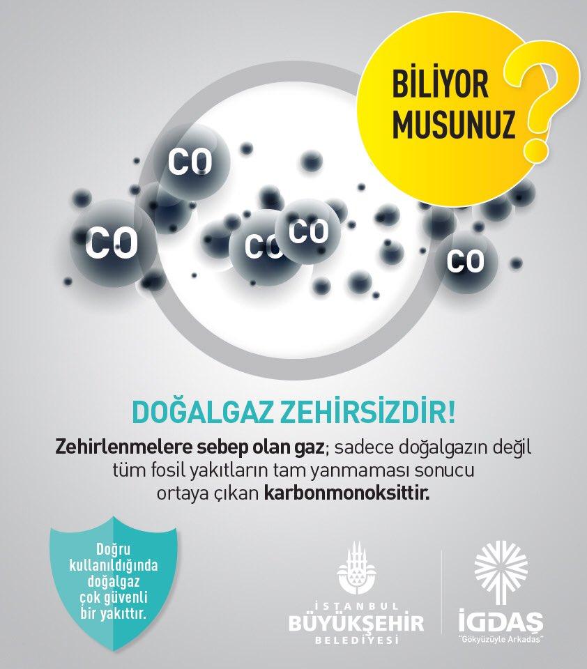 Doğal gaz zehirsizdir!  Zehirlenmelere sebep olan gaz; sadece doğal gazın değil tüm fosil yakıtların tam yanmaması sonucu ortaya çıkan karbonmonoksit gazıdır. Menfezlerimizin sürekli açık tutulması bu yüzden çok önemlidir.  #igdaş  #doğalgaz  #ibb