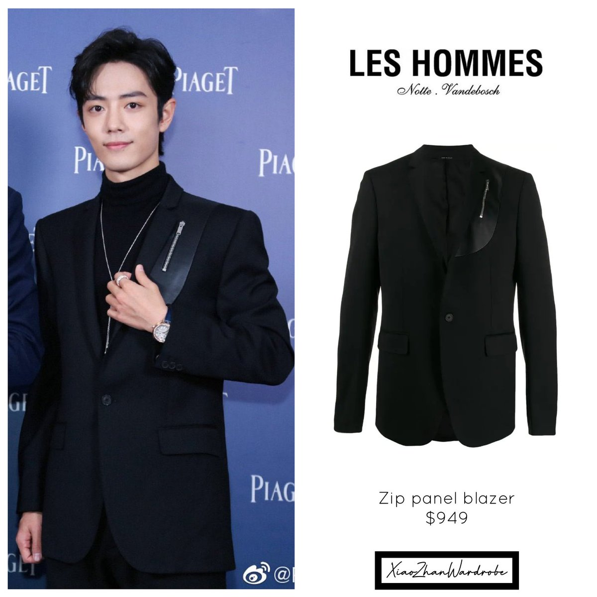 Xiao Zhan is wearing a blazer with leather effect panel and zip detail from #LesHommes #XiaoZhan<br>http://pic.twitter.com/r99R8XFtI1
