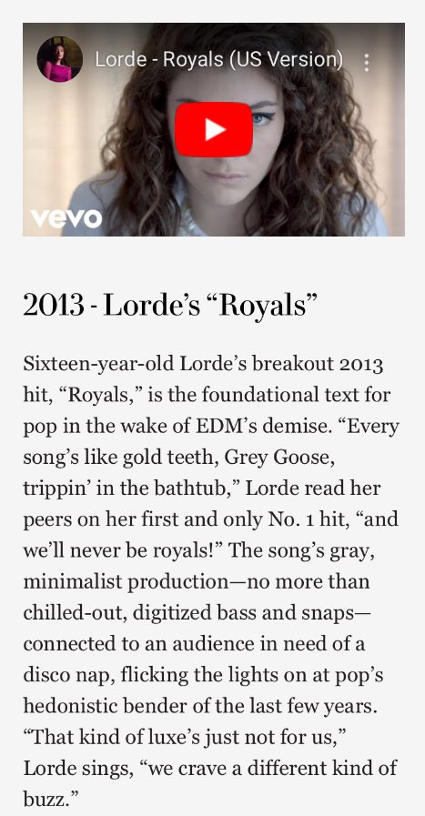 According to @VanityFair, Royals is one of the 10 songs that explain the 2010s!   https://www. vanityfair.com/style/2019/12/ songs-of-the-decade-2010s  … <br>http://pic.twitter.com/ZtGIiHNp7G