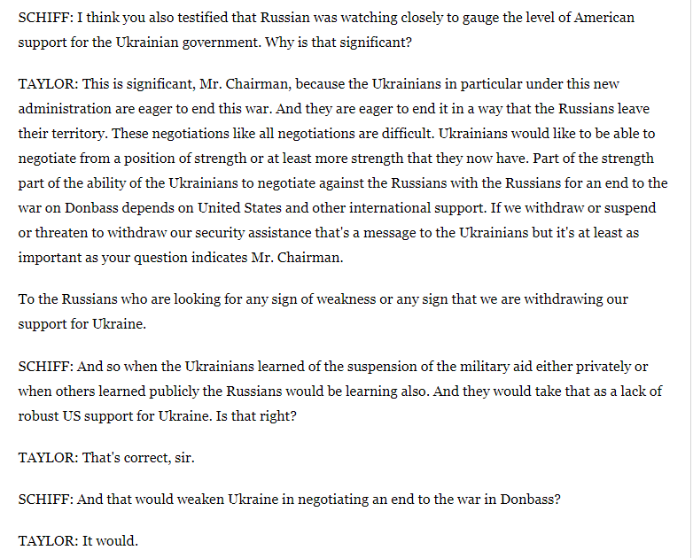 It seems incorrect to say lives were lost directly by Ukraine aid suspension. But its correct to say that the aid suspension seriously damaged Ukraines ability to end the war with Russia. Ambassador Taylors powerful testimony in response to @RepAdamSchiff👇