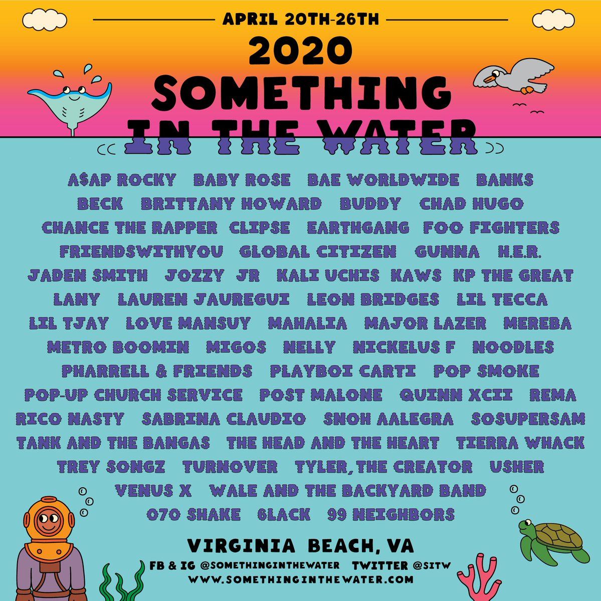 The SITW lineup is HERE 🚨 👤 Migos 👤 Post Malone 👤 Tyler, The Creator 👤 Chance The Rapper 👤 ASAP Rocky 👤 Lil Tecca 👤 Playboy Carti 👤 Metro Boomin 👤 Pop Smoke ➕ MORE ⬇️