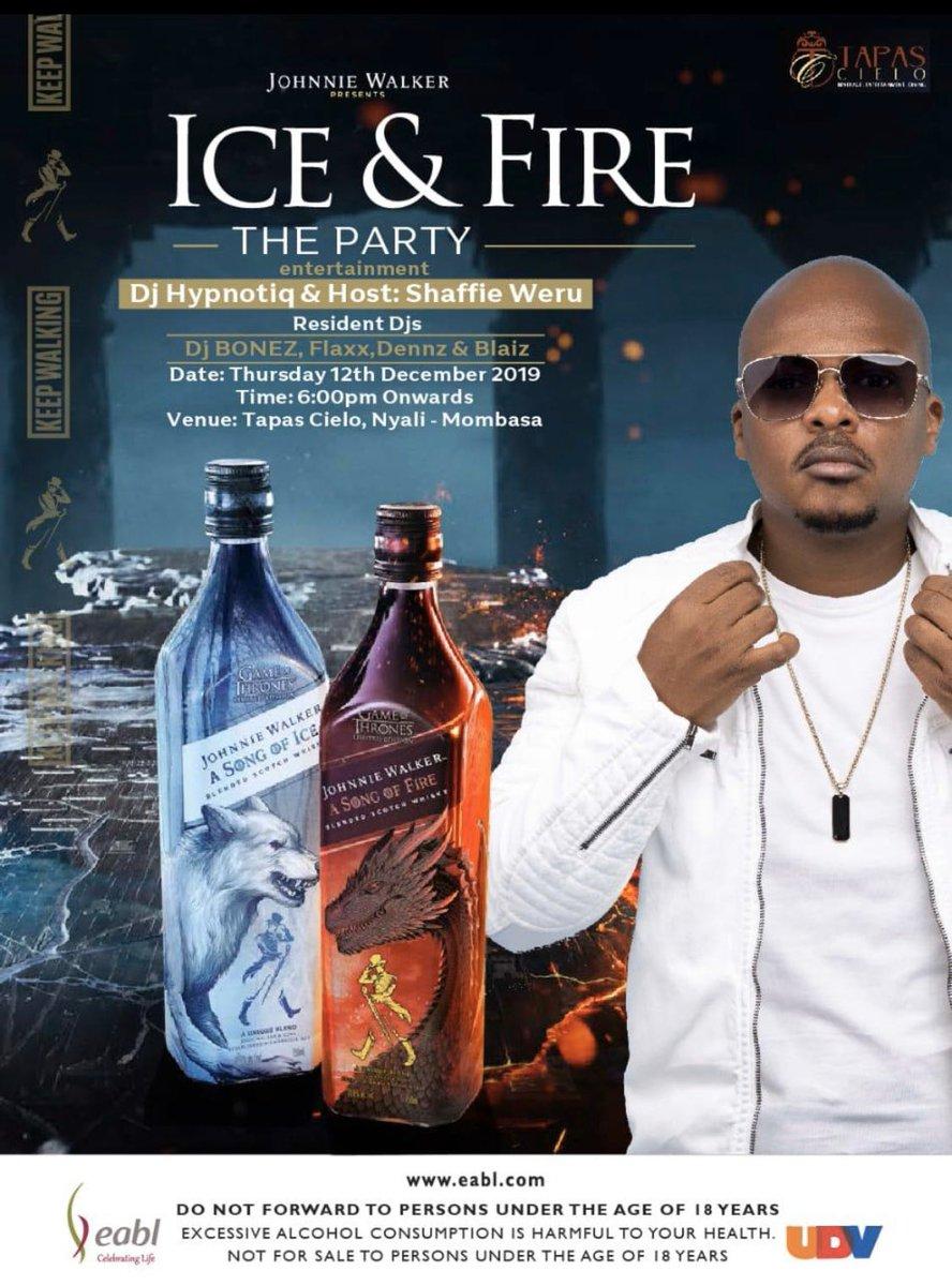 @TapasCielo tonight's going to be a movie #iceandfire with @JohnnieWalkerKe #jwsongoffire #jwsongofice @ShaffieWeru @DeejayBonez254<br>http://pic.twitter.com/YayiGJPuxe