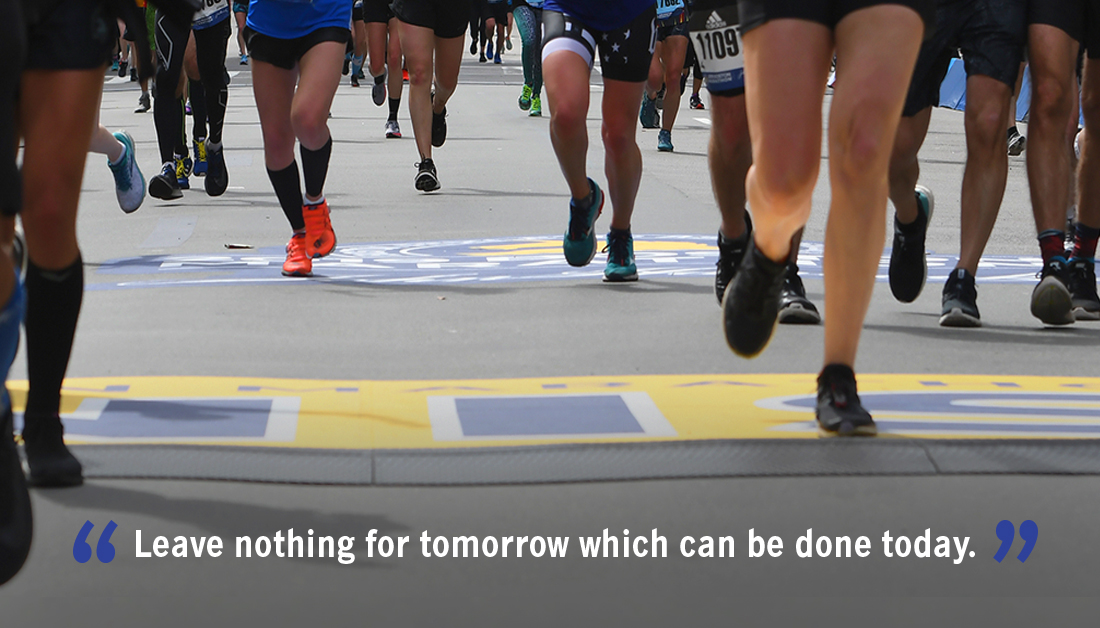 To get to the finish, you need to start. #BostonMarathon <br>http://pic.twitter.com/RYnqEJwE9L