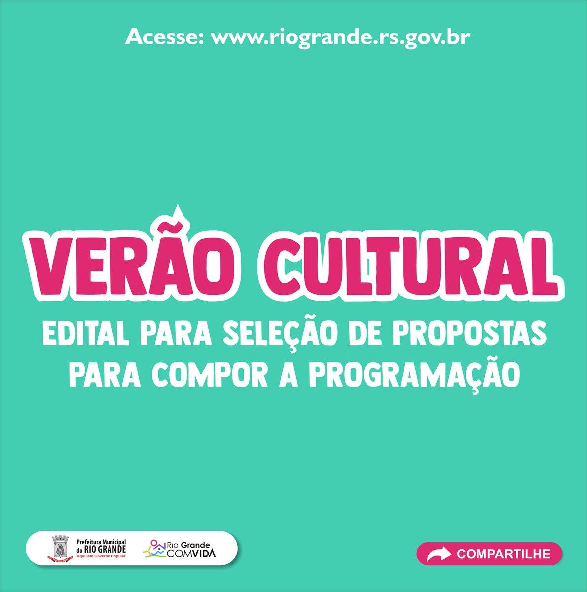 #VerãoCultural2020  Está aberto o edital para seleção de propostas que irão compor a programação artística do projeto.   Tem interesse?  http://bit.ly/35g3xR3 #PraiaDoCassino #Verão2020 pic.twitter.com/vvgLIAyLZo