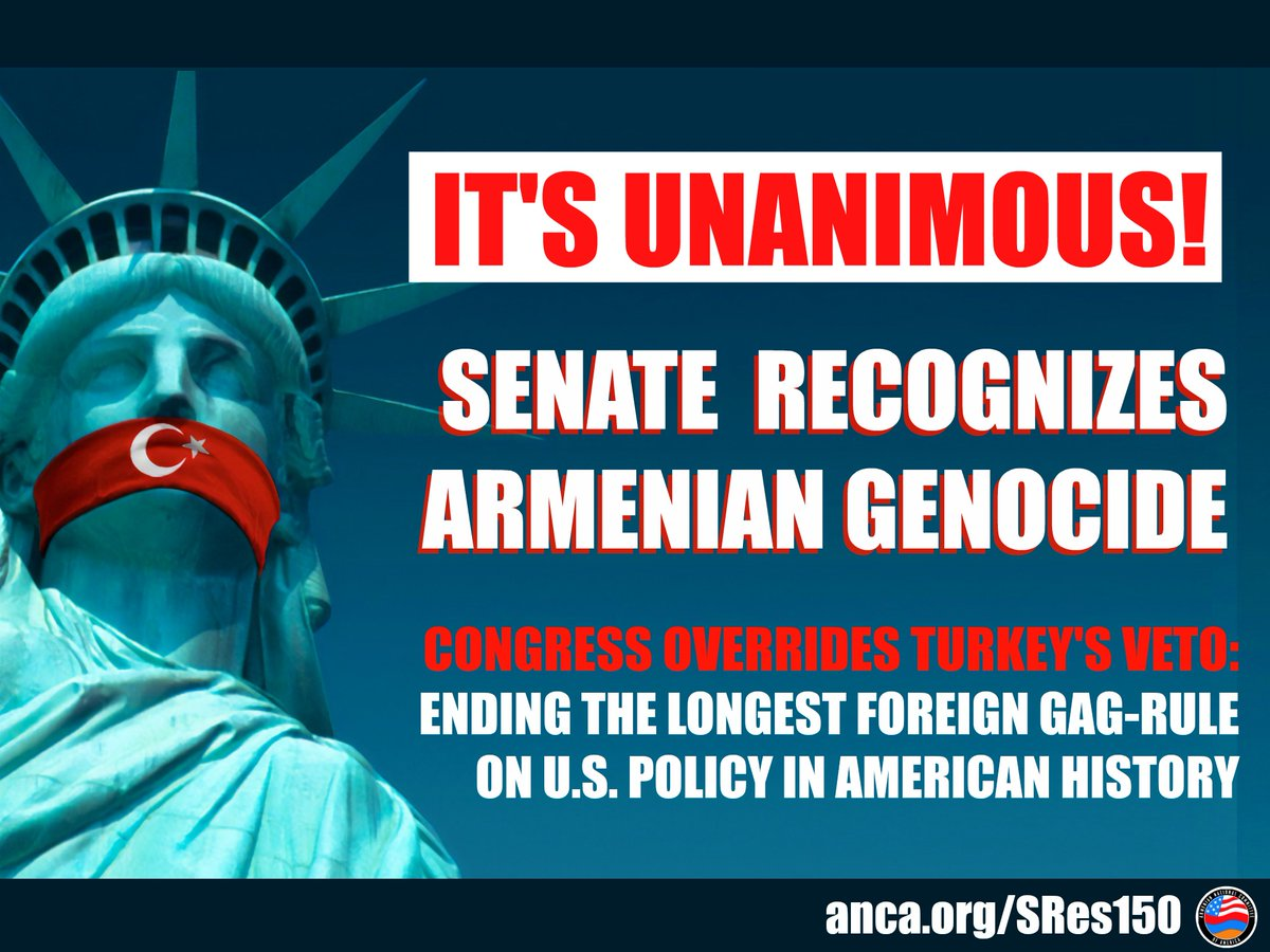 BREAKING: U.S. Senate Unanimously Recognizes #Armenian #Genocide, Rejects Turkey's Gag-Rule against American Remembrance of this Crime  Powerful remarks by co-sponsors @SenatorMenendez & @SenTedCruz  #ThankfulThursday #ArmenianGenocide #TurkeyFailed   http:// anca.org/sres150     <br>http://pic.twitter.com/be2SkTTNsC