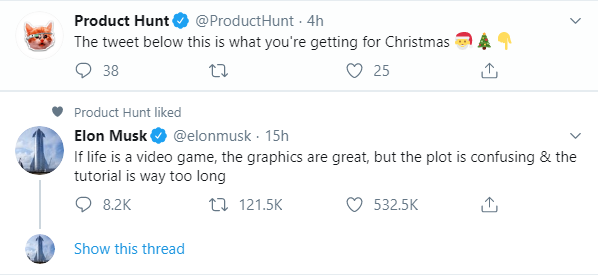 *gasp* Were getting Elon Musk for Christmas! And video games...I think?