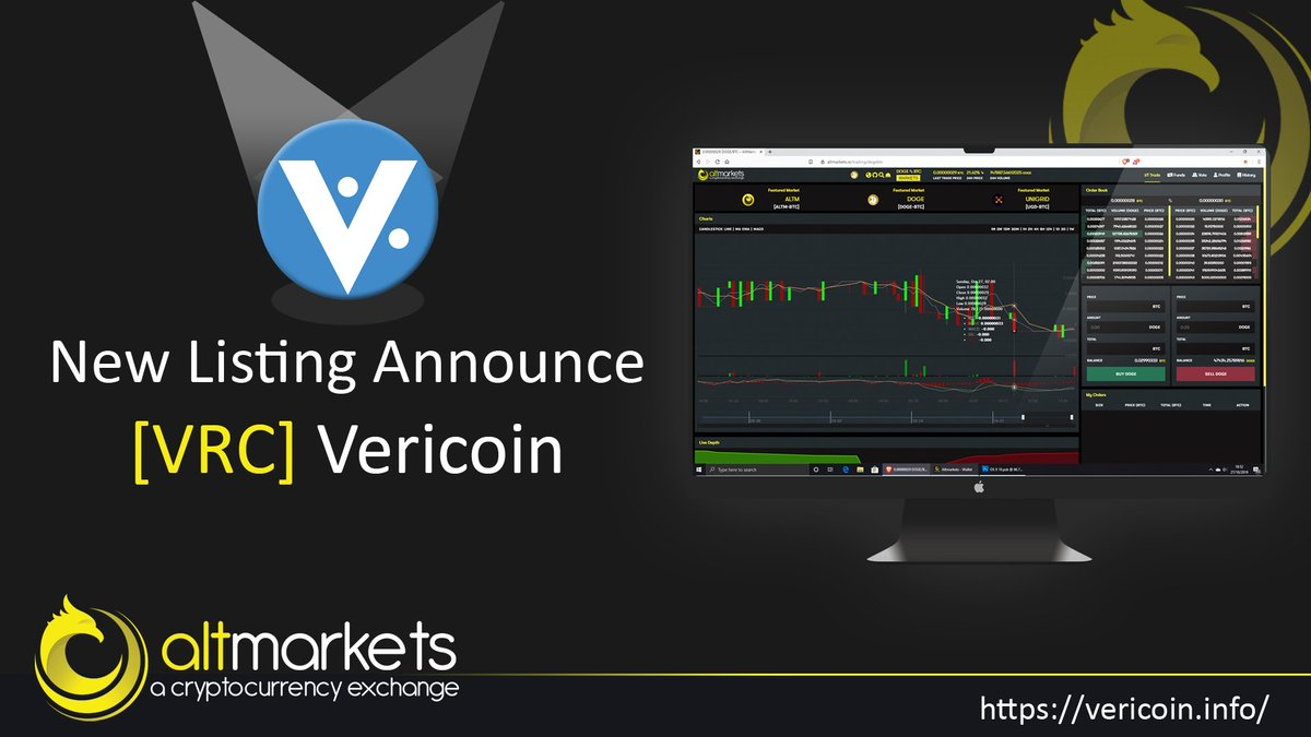 Excited to announce that $VRC has just been listed on @AltmarketsEX 👍