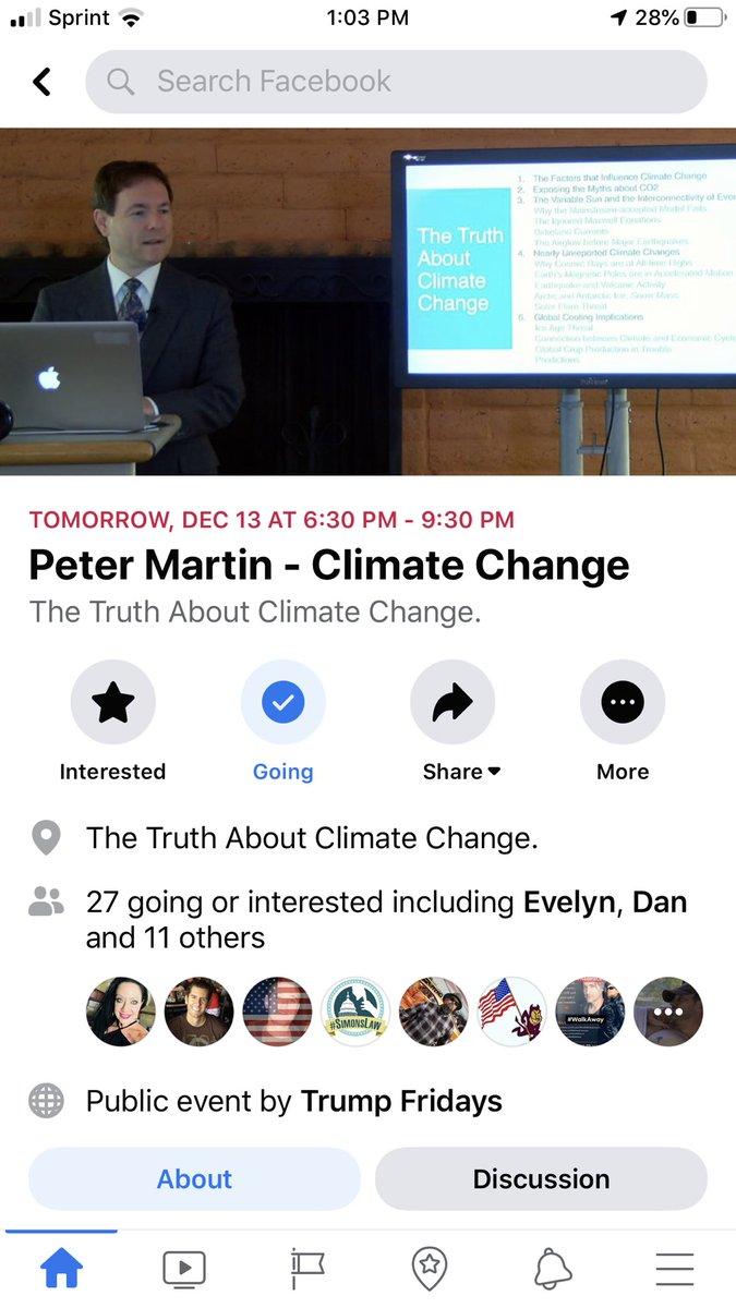 Peter Martin presentation on climate change tomorrow night 🇺🇸🇺🇸🇺🇸 December 13, 2019 6:30 pm 2230 E. Magnolia St. Phoenix 85034