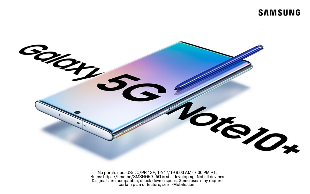 Are you ready for 5G? We are. That's why @SamsungMobileUs and #TMobileTuesdays are giving away 5 FREE Samsung Galaxy Note10+ 5G phones 🤯🎉💯  Simply RT to enter. Good luck 🤞 #contest https://t.co/KMakOBQYXp