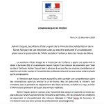 Image for the Tweet beginning: Mon communiqué suite au décès