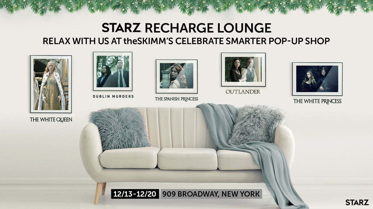 Stop by our #STARZ Recharge Lounge in @theSkimm's Celebrate Smarter Pop-Up Shop! Enjoy previews of our original series including @Outlander_STARZ, @DublinSTARZ, @SpanishPrincess, #TheWhiteQueen, and #TheWhitePrincess. Relax and join us for giveaways!