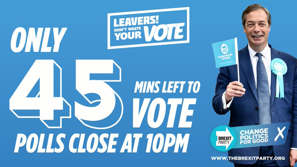 There are only 45 minutes left to vote! Leavers, dont waste your vote. Find out if you are in one of the 130 seats that the Conservatives havent won for 50 years and wont win this time by clicking the link below 👇 bit.ly/344AvTm