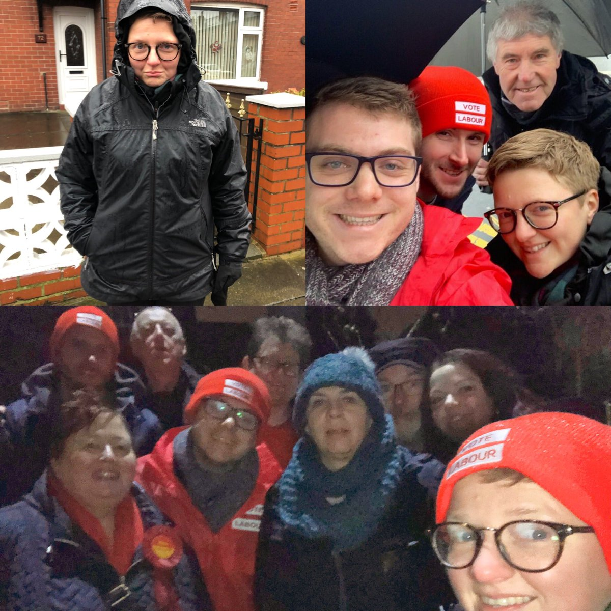 Today was cold and wet, but we weren't miserable, with lots up Team @McrLabour helping getting the vote out for @JamesFrith in Bury North. Politics is made up of ordinary but wonderful people out in crap weather trying to change the world #VoteLabour #GeneralElection 🌹🗳